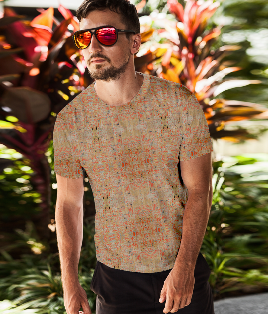 T shirt mockup featuring a bearded man with sunglasses posing in front of some plants 2248 el1