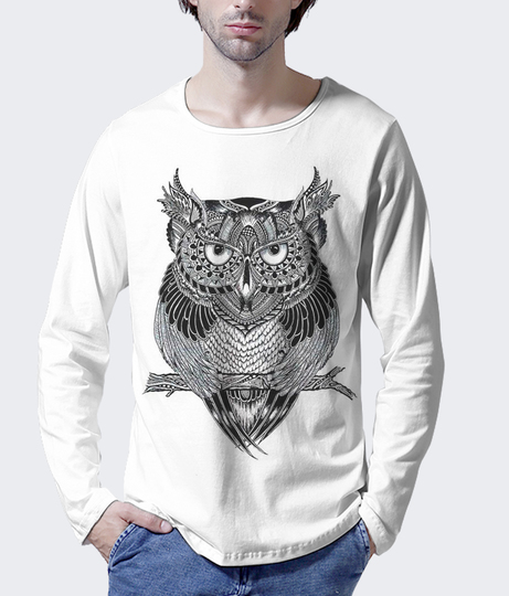 Dreamy owl white men's printed henley
