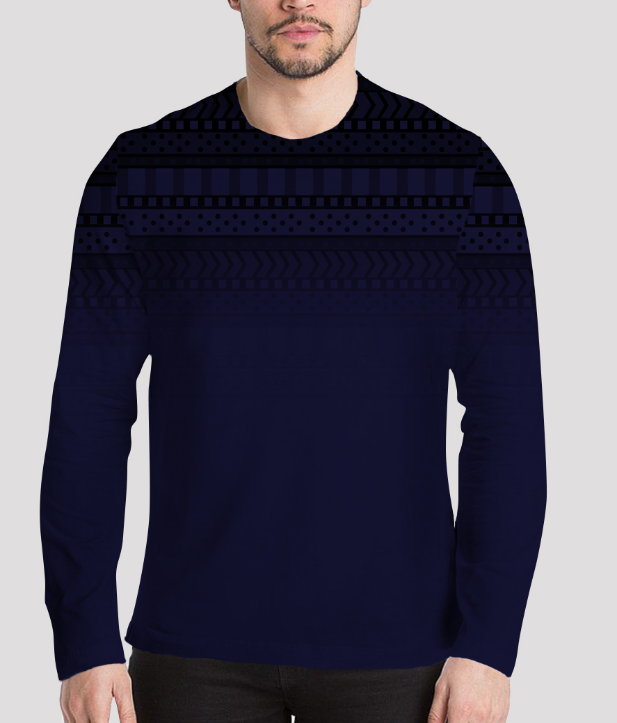 Blue strike men's printed henley