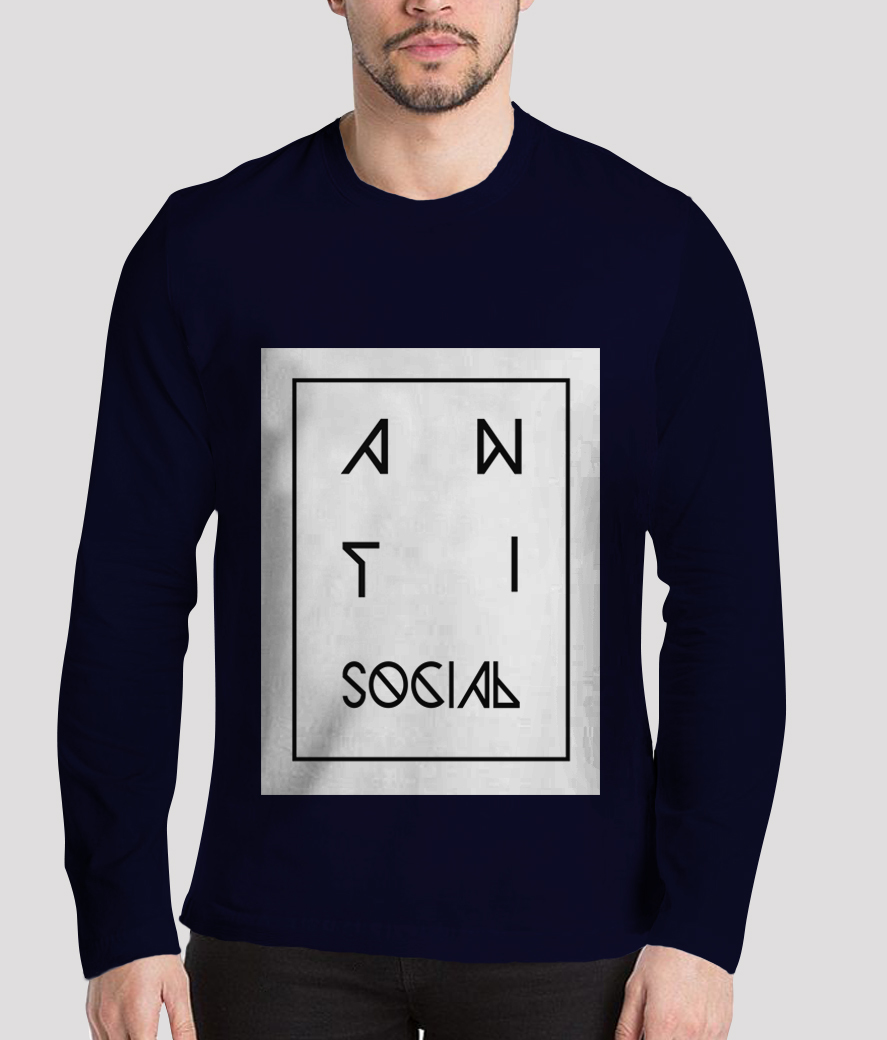 Anti social men's printed henley