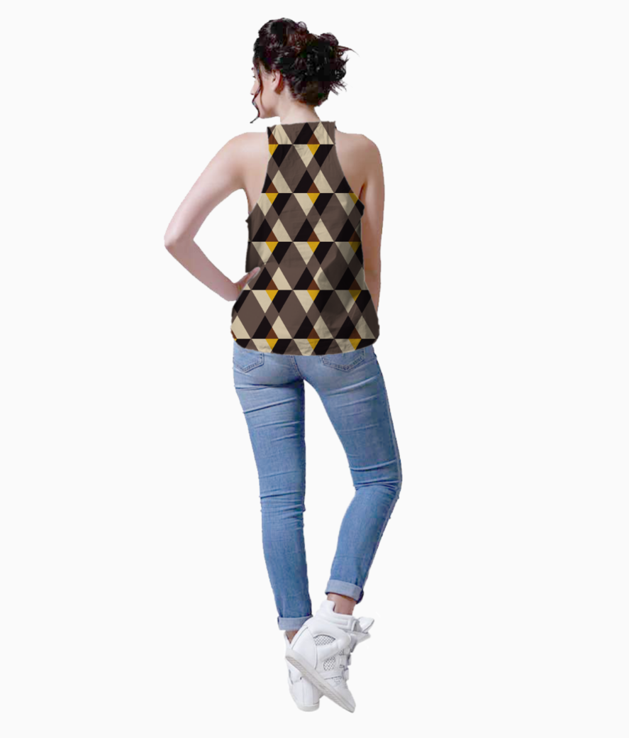 Brown with yellow tile background tank back