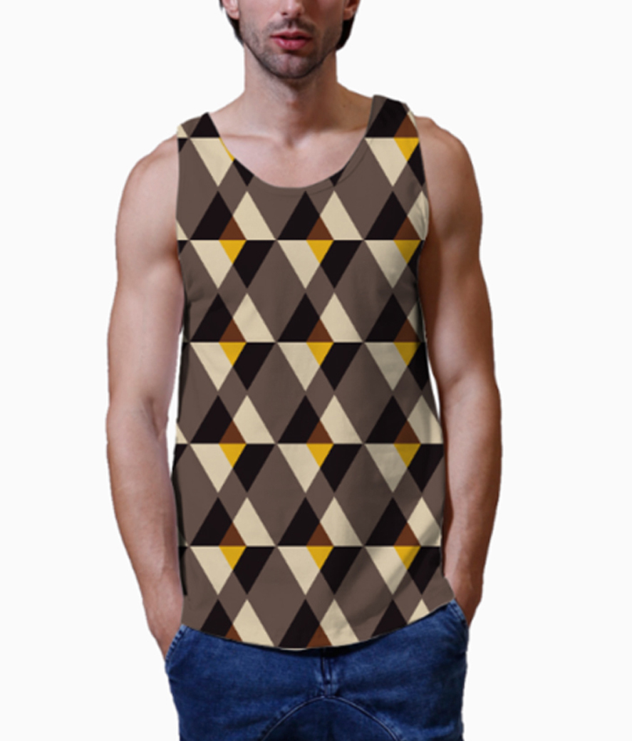 Pyramid of triangle men's printed vest closed up
