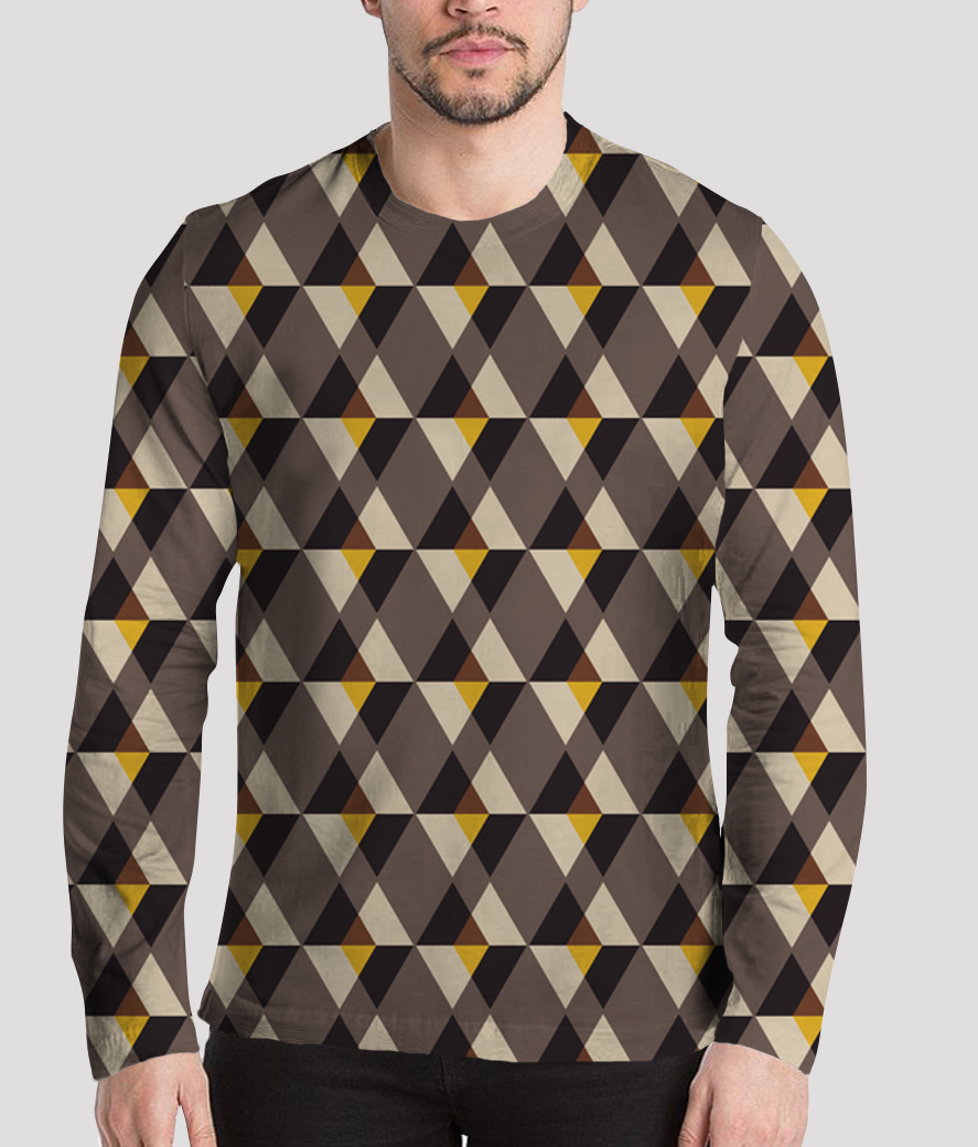 Brown with yellow tile men's printed henley