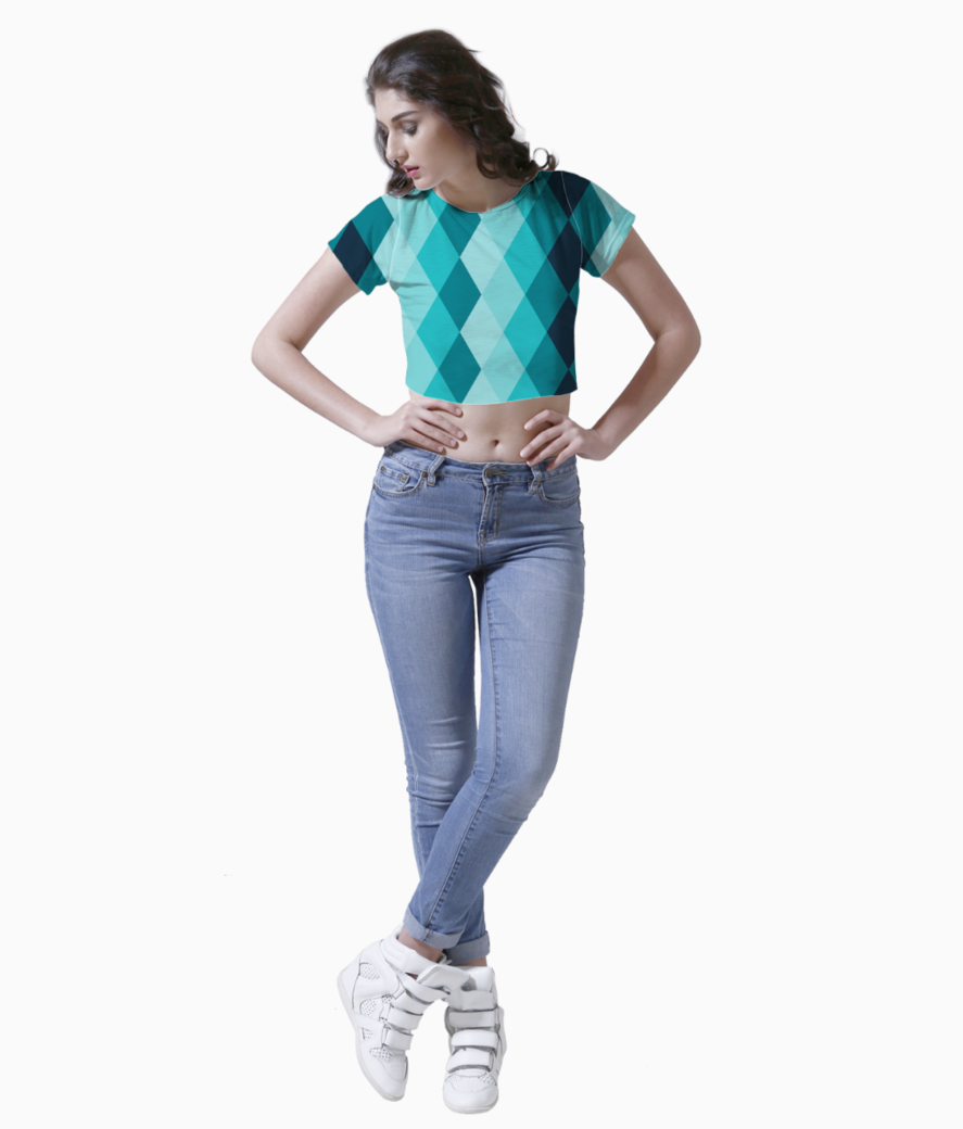 Blue ceramic tile crop top front