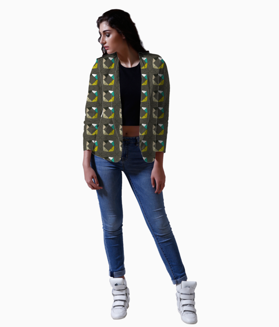 Flowers with geometric shapes blazer front