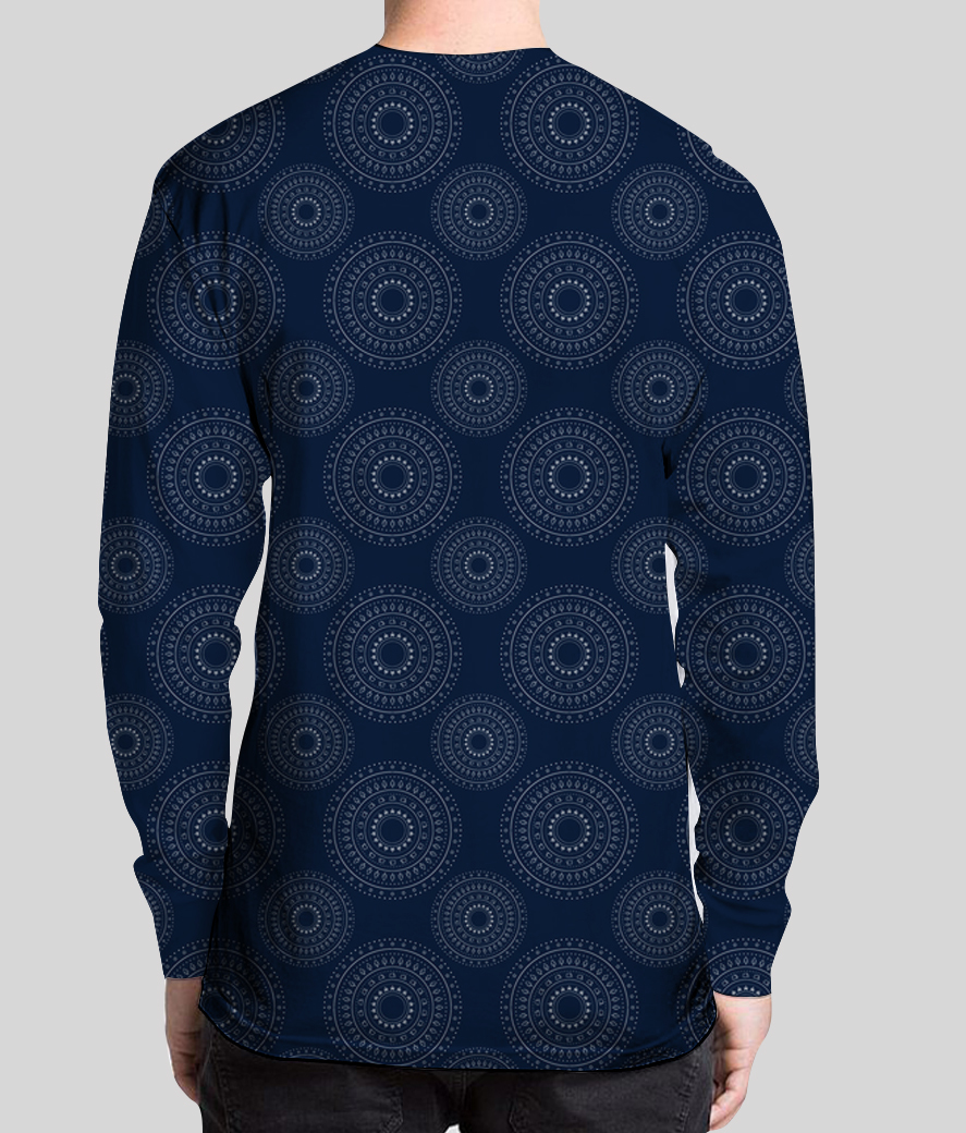 Blue christmas mandalas henley backk