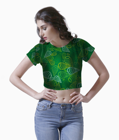 Green traditional swirl fabric crop top front