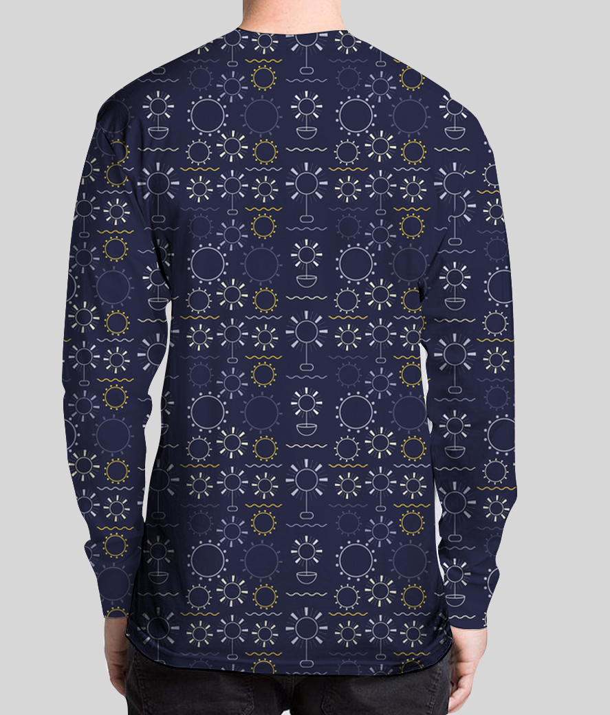 Flowers art geometric shapes dark blue men's printed henley back
