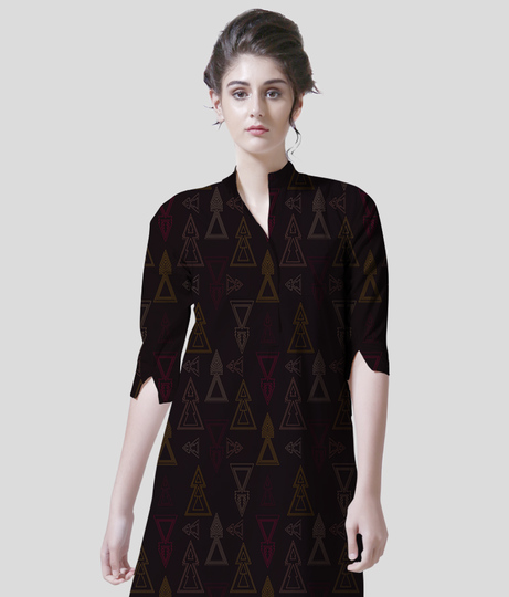 Seamless geometric triangle arrows women's printed kurta