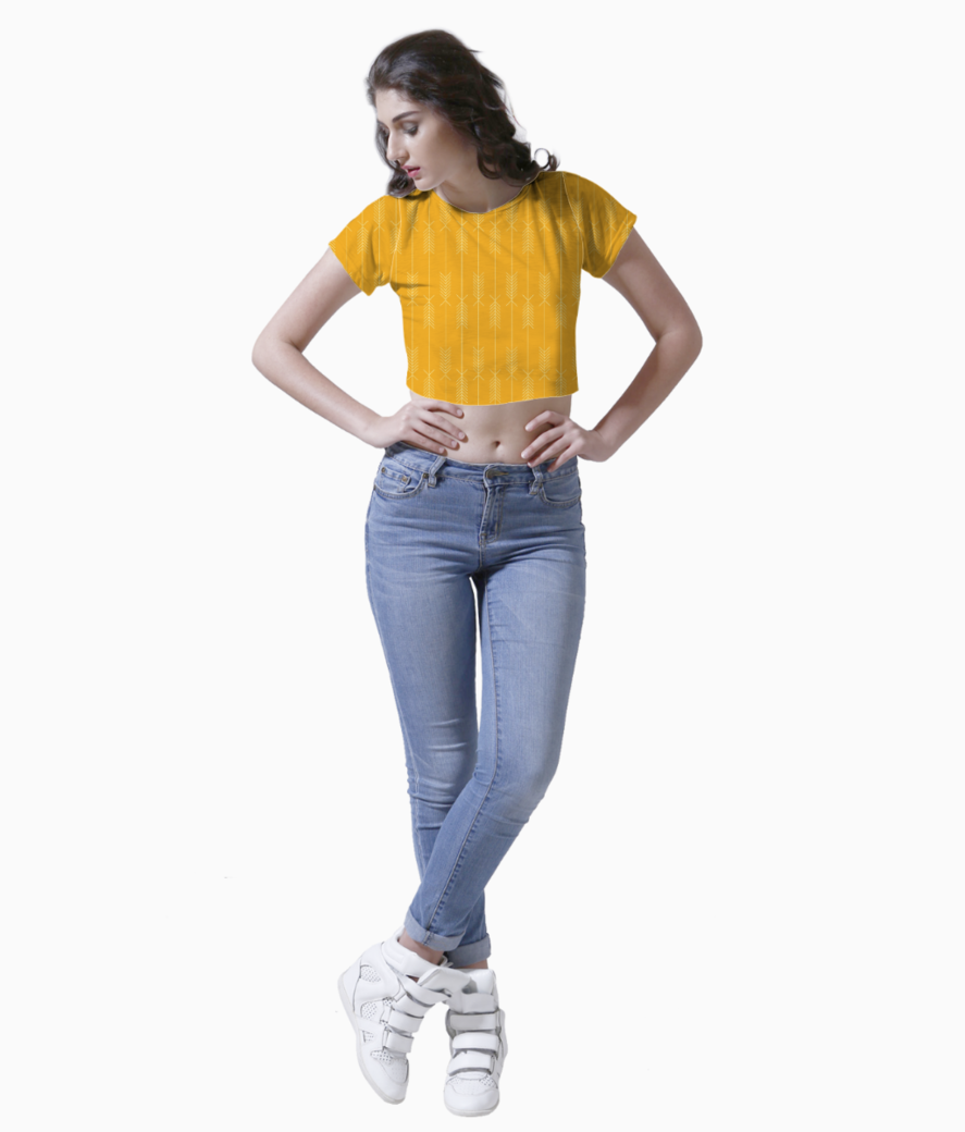 Yellow arrows fabric crop top front