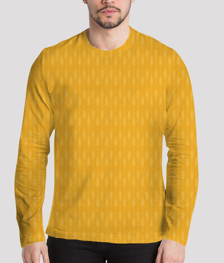 Yellow arrows fabric men's printed henley