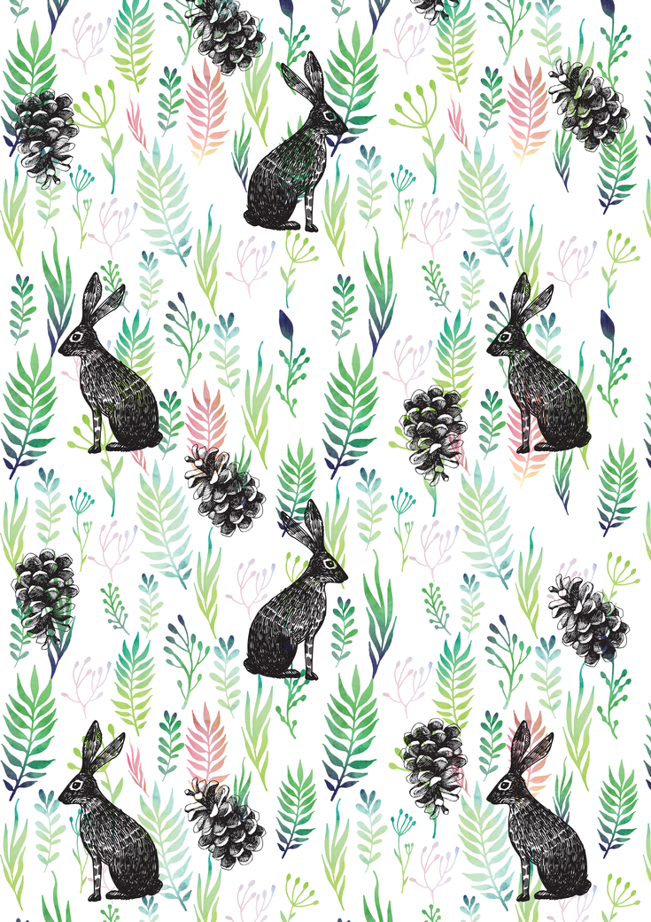 Bunnies and pinecones
