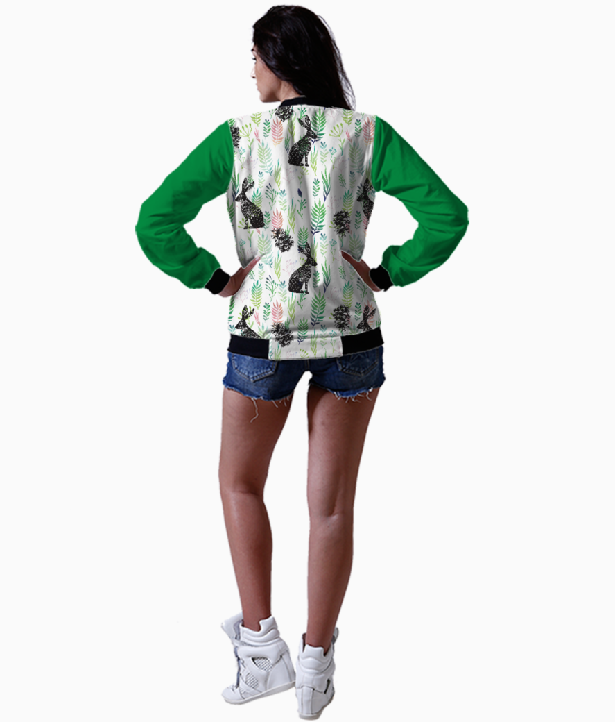 Bunnies and pinecones bomber back