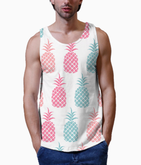 Pastel pineapple men's printed vest close up