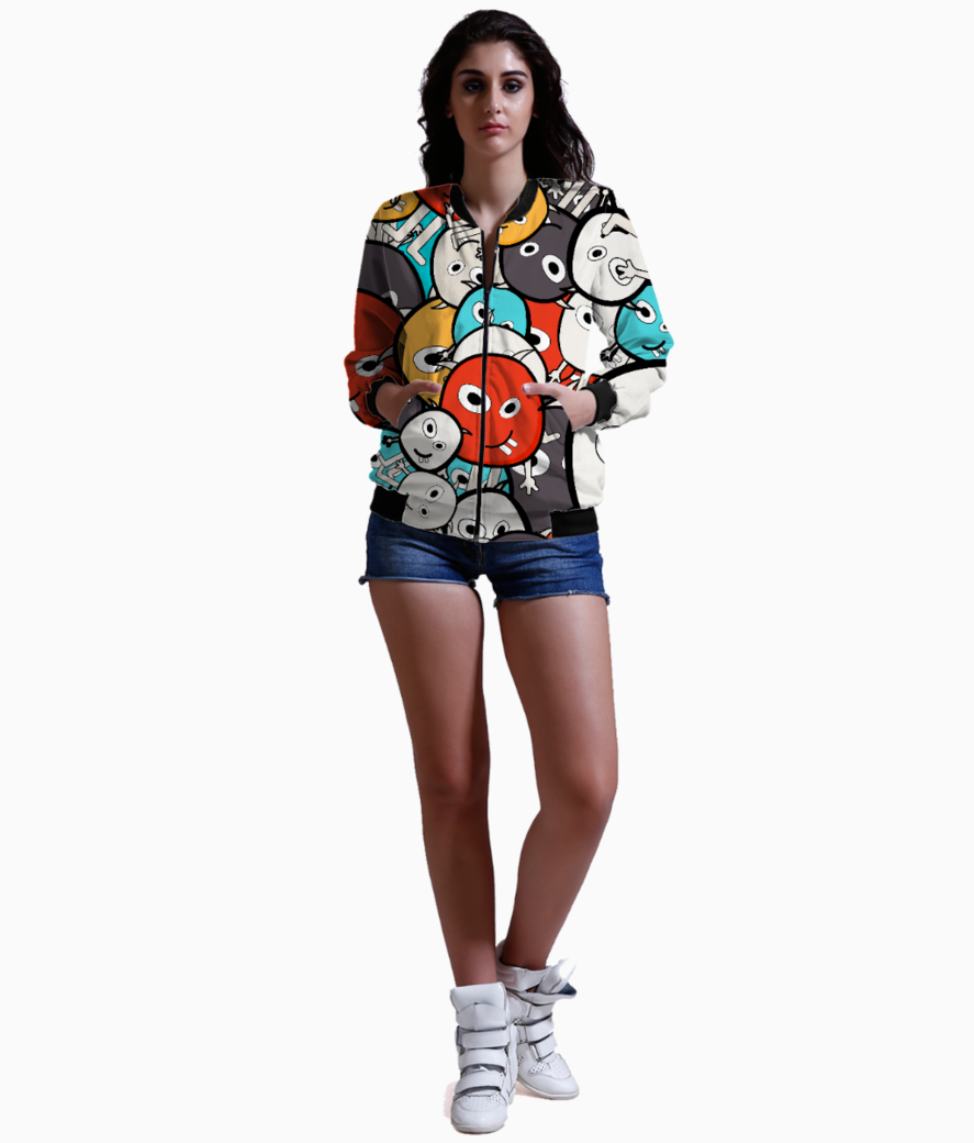 Colorful monster faces bomber front