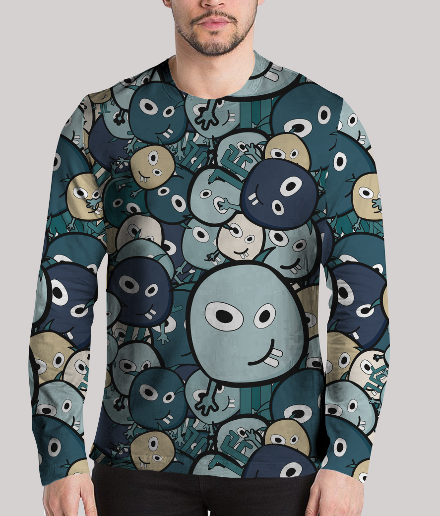 Dark monster faces men's printed henley