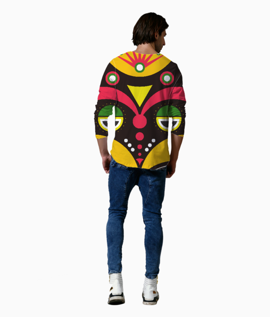 African traditional tribal mask henley back