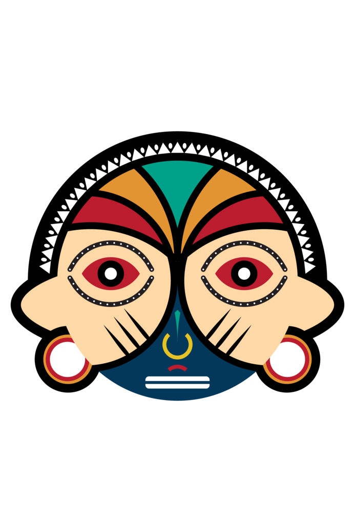 Round tribal mask