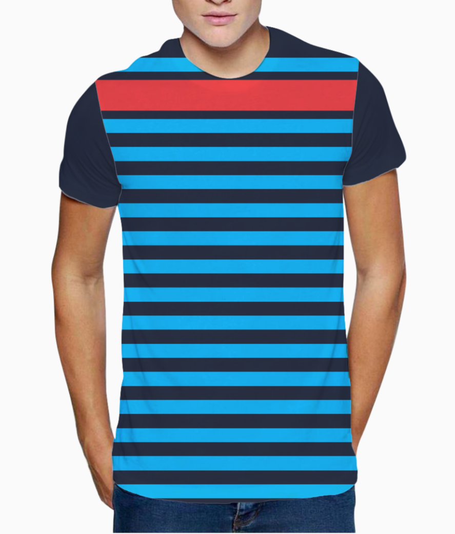 Stripe print on chest t shirt front
