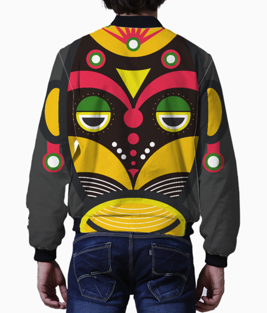 African traditional tribal mask men's bomber back