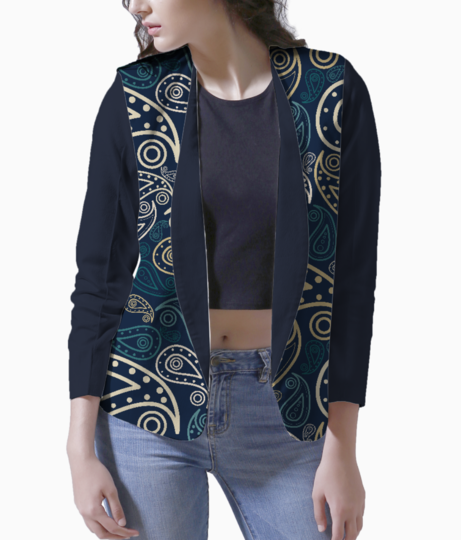 Paisley illustration women's blazer front