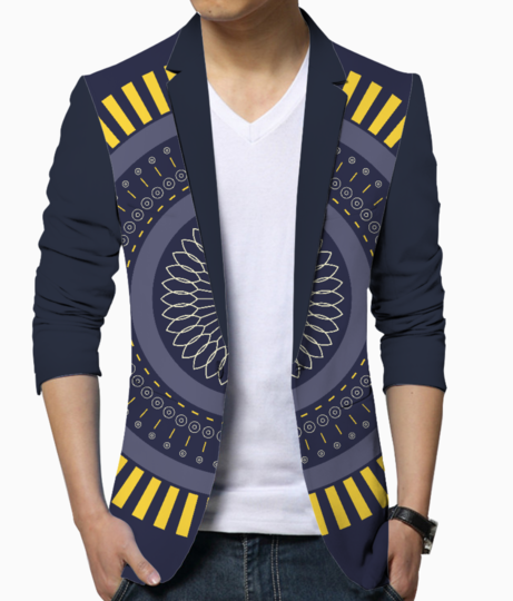 Blue zen mandala circle men's blazer front
