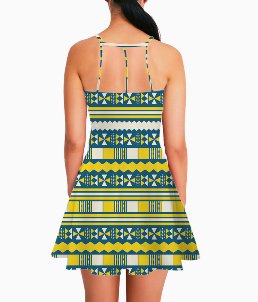 Blue with yellow aztec summer dress back