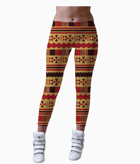 Yellow with red aztec leggings front