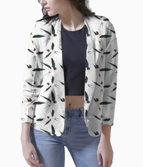 Bird pattern women's blazer front