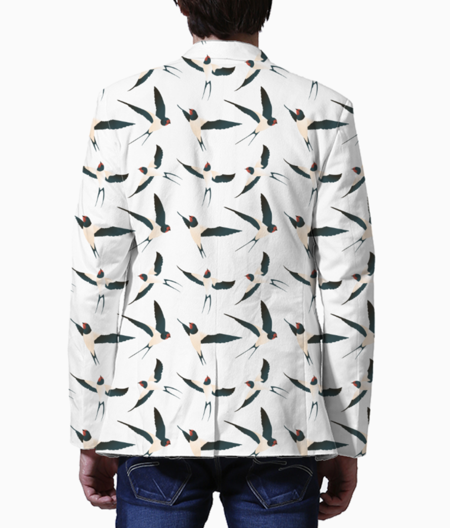Bird pattern men's blazer back