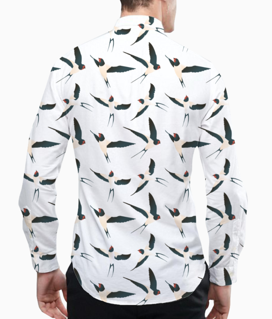 Bird pattern basic shirt back