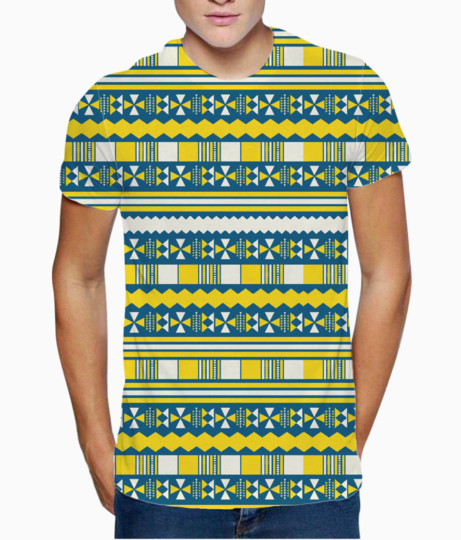 Blue with yellow aztec t shirt front