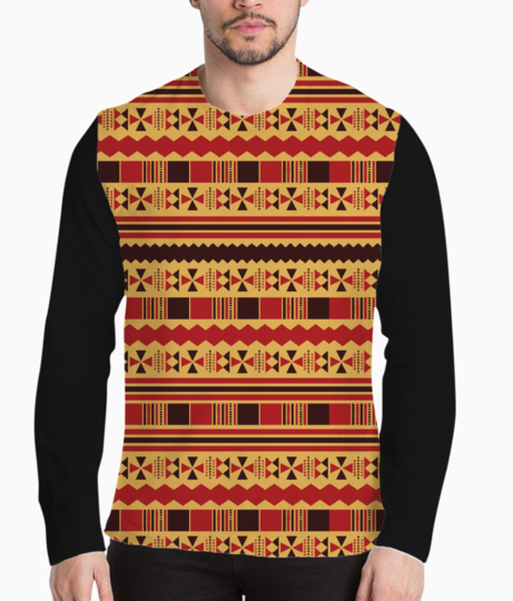 Yellow with red aztec henley front