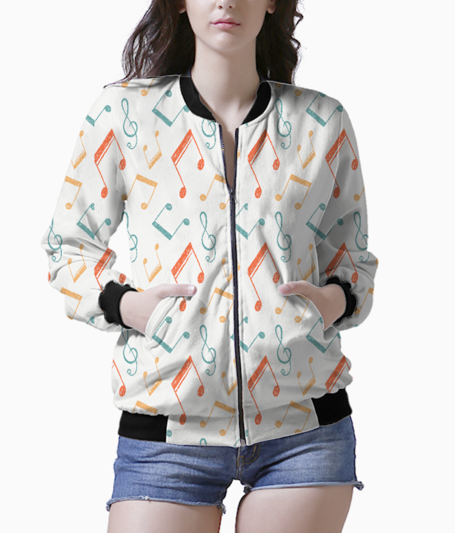 Music notes color patt women's bomber front