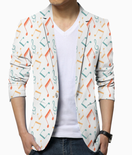 Music notes color patt men's blazer front
