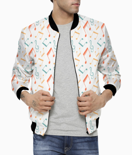 Music notes color patt men's bomber front