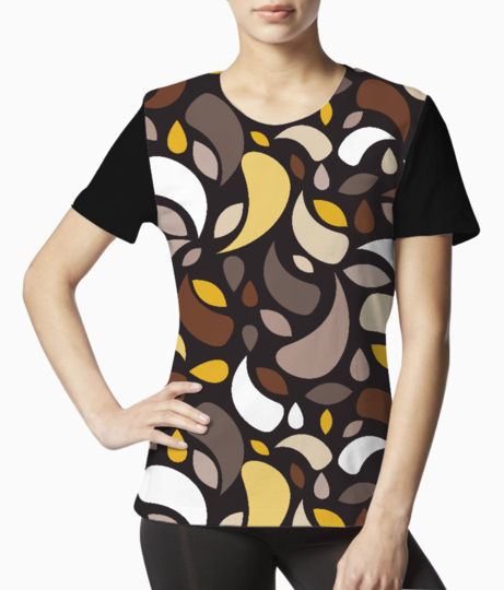 Brown leaves and geometric shapes tee front