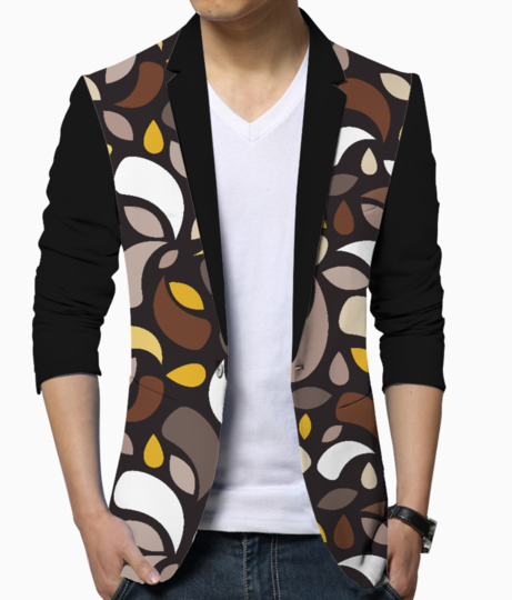 Brown leaves and geometric shapes men's blazer front