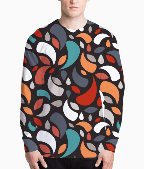 Colorful leaves and geometric shapes henley front
