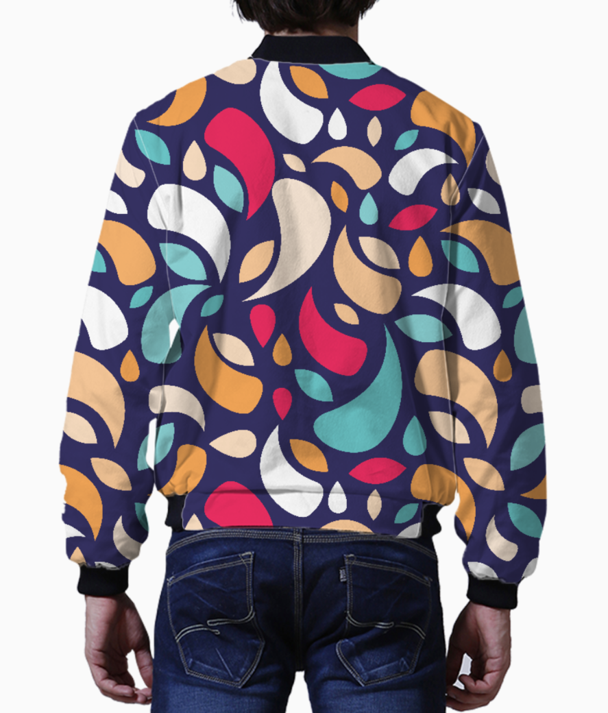 Multicolor leaves and geometric shapes men's bomber back