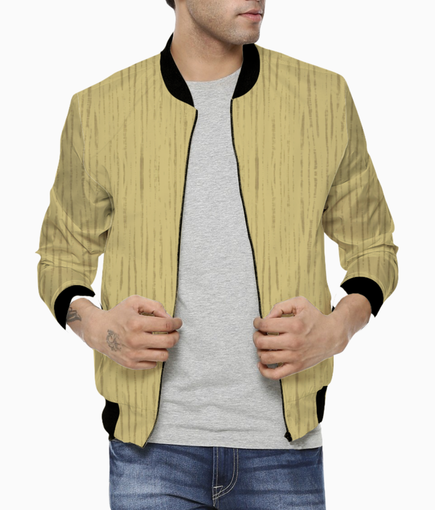 Dark golden wall men's bomber front