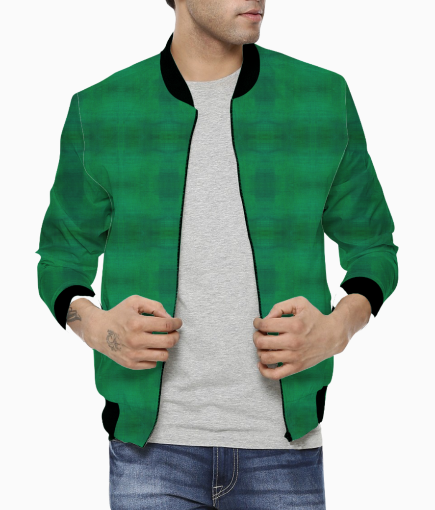Warm green men's bomber front