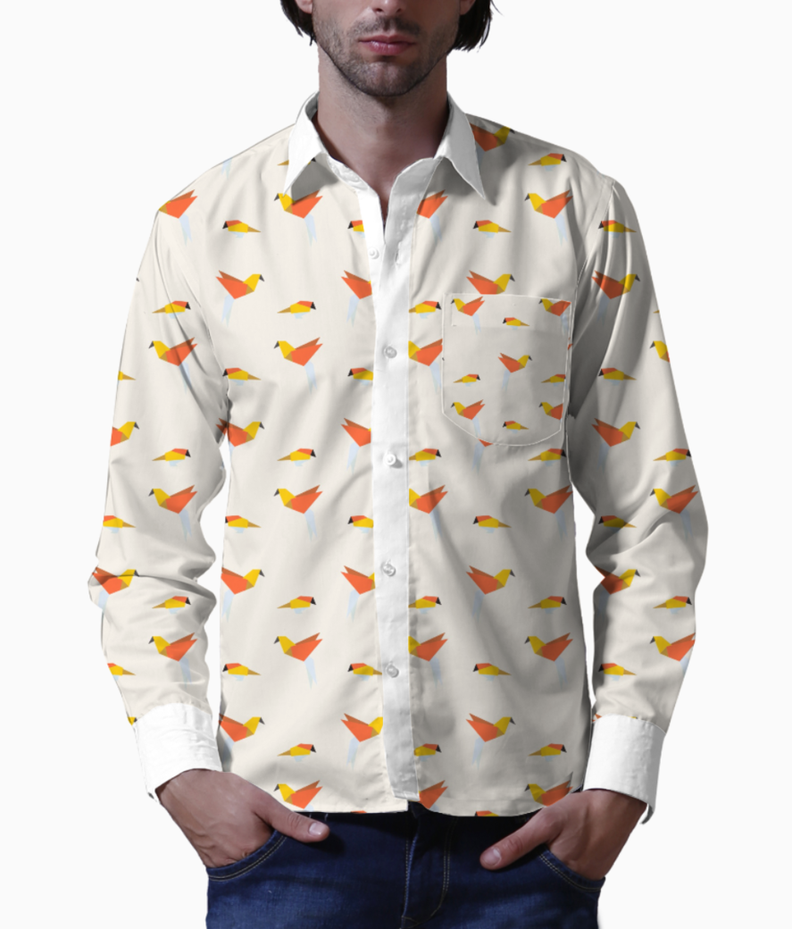 Origami bird  basic shirt front
