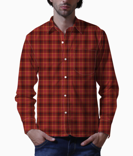 Tartan plaid red christmas paper basic shirt front