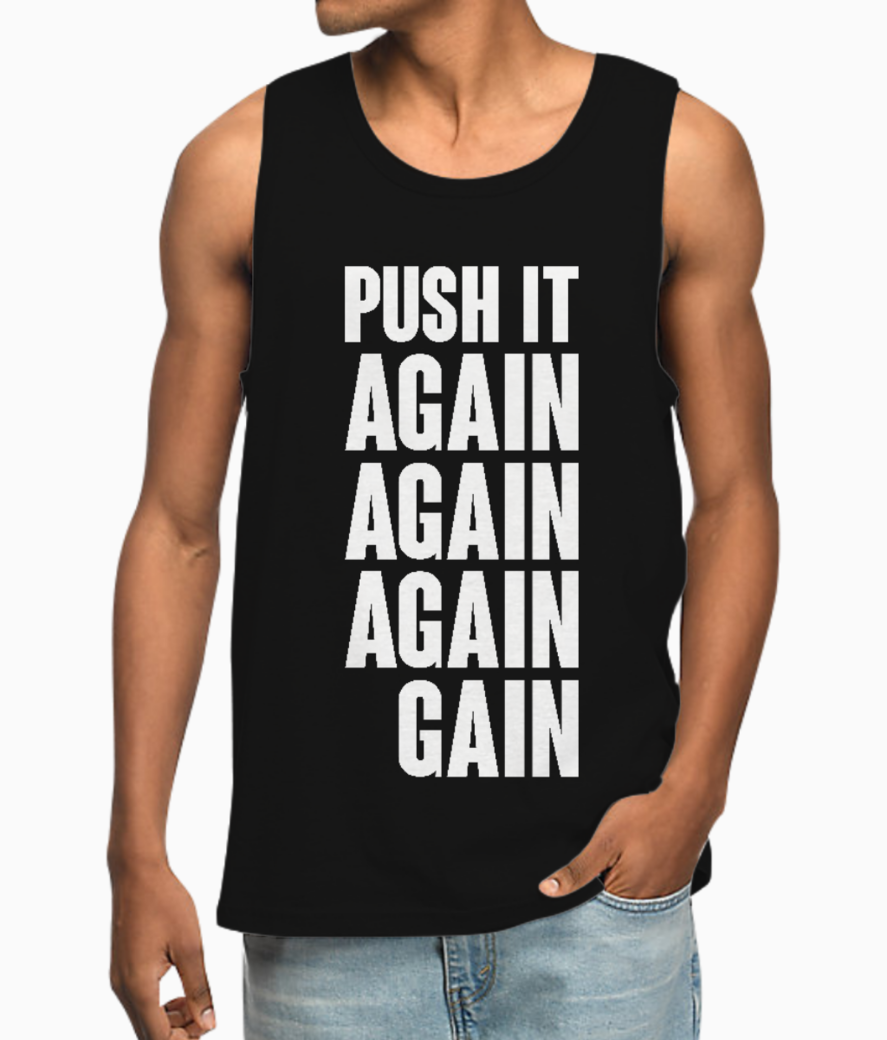Push it again typography vest front