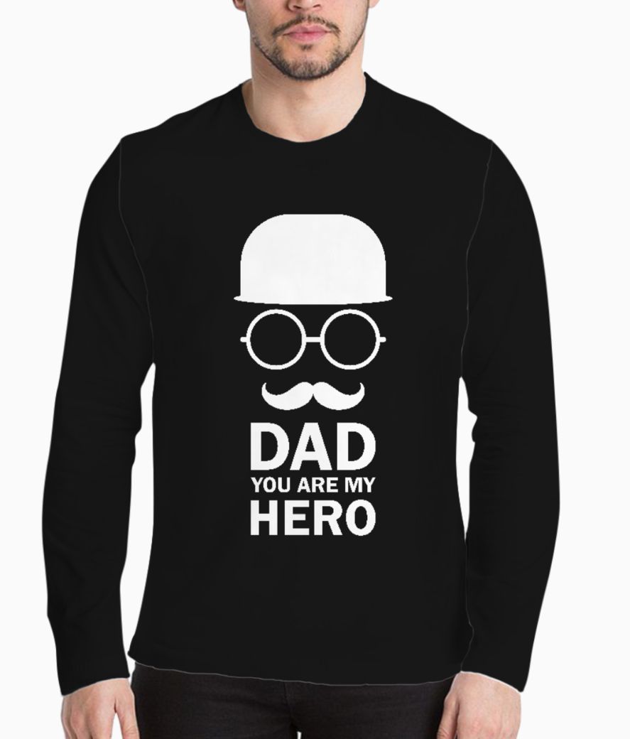 Dad you are my hero typography henley front