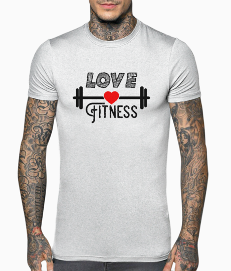 Love fitness typography t shirt front