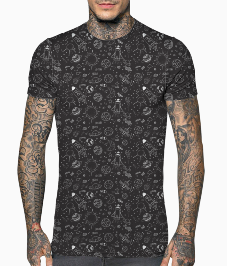 Space doodle   black t shirt front