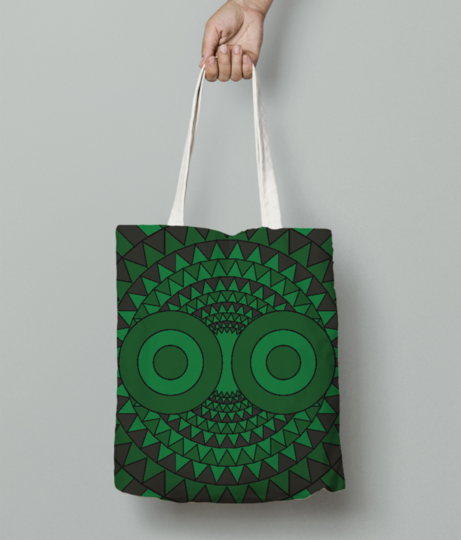 Polychrome owl green tote bag front