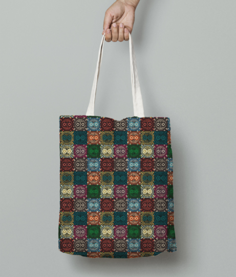Polychrome owl tote bag front
